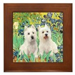 Irises-Westies 3and11 Framed Tile