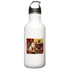 Santa's Two Airedales Water Bottle