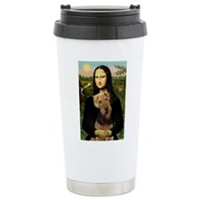 Mona Lisa & Airedale Ceramic Travel Mug