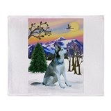 Winter Sunset &amp; Alaskan Husky Throw Blanket
