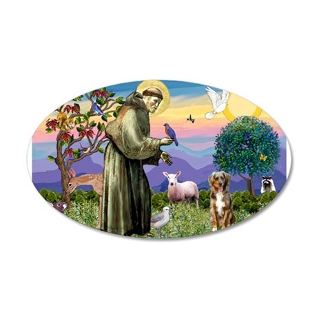 St Francis/Aussie (#5) 20x12 Oval Wall Decal