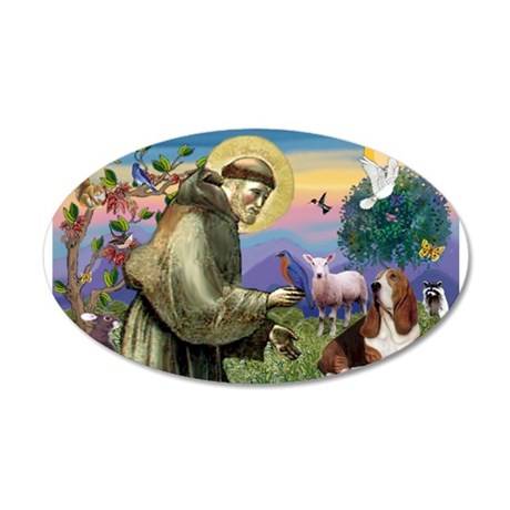 St. Francis & Basset 20x12 Oval Wall Decal
