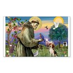 Saint Francis / Beagle Sticker (Rectangle)