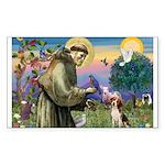 Saint Francis / Beagle Sticker (Rectangle)