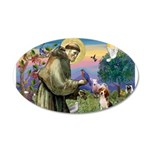 Saint Francis / Beagle 20x12 Oval Wall Decal