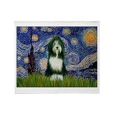 Starry Night & Beardie Throw Blanket