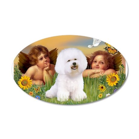 Angels & Bichon Frise 20x12 Oval Wall Decal