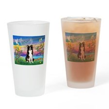 GUARDIAN ANGEL/BORDER COLLIE Drinking Glass