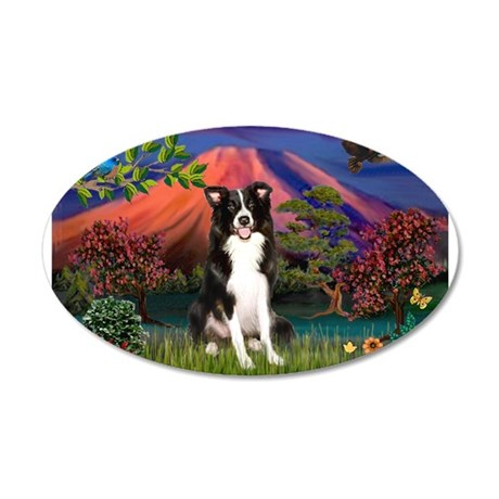 Mt Fuji Border Collie 20x12 Oval Wall Decal