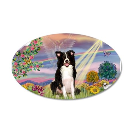 Cloud Angel Border Collie 20x12 Oval Wall Decal