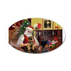 Santa's Border Terrier 22x14 Oval Wall Peel