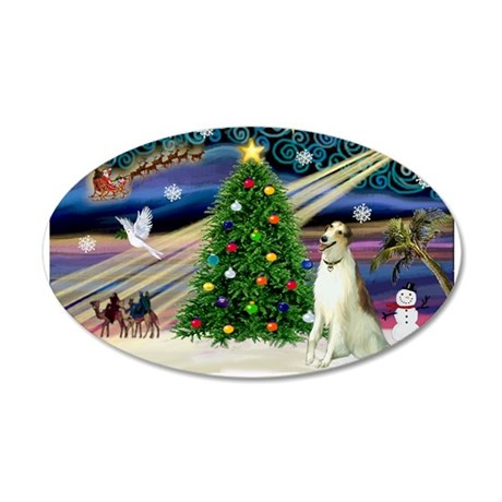 Xmas Magic/Borzoi 22x14 Oval Wall Peel