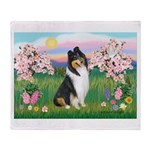 Blossoms / Collie (tri) Throw Blanket