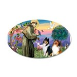 St Francis / Collie Pair 22x14 Oval Wall Peel