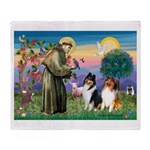 St Francis / Collie Pair Throw Blanket