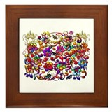 Digital Hibiscus Floral Patte Framed Tile