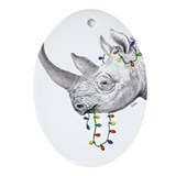 Black Rhino Ornament (Oval)