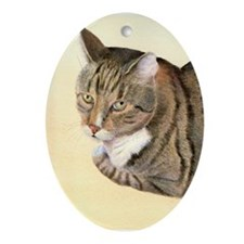 Tabby Cat Ornament (Oval)