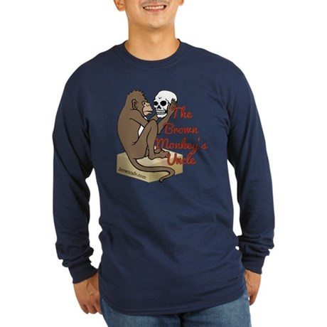 Brown Monkey's Uncle Long Sleeve Dark T-Shirt