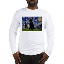 Starry Night Black Poodle Long Sleeve T-Shirt