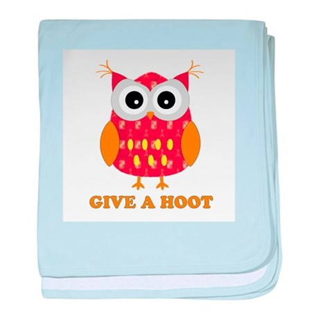 Reddish owl with saying Give baby blanket