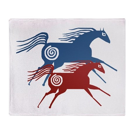 Two Ancient Horses Throw Blanket