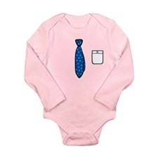'Polka Dot Tie' Long Sleeve Infant Bodysuit