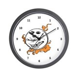 Bowling Ball with Flames Wall Clock