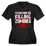 rather kill zombies Women's Plus Size V-Neck Dark