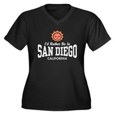 San Diego Women's Plus Size V-Neck Dark T-Shirt