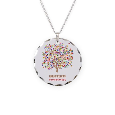 Tree of Autism Necklace Circle Charm