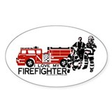 """I love my firefighter"" Oval Decal"