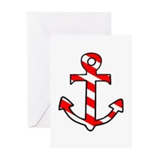 'Candy Stripe Anchor' Greeting Card