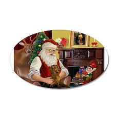 Santa's Dachshund (b) 38.5 x 24.5 Oval Wall Peel