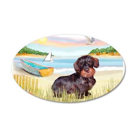 Rowboat / Wire Haired Dacahsh 38.5 x 24.5 Oval Wal