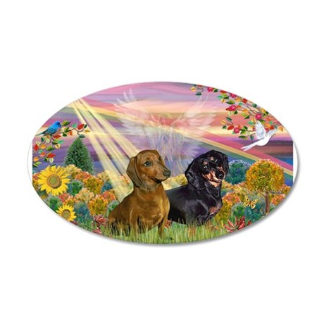 Autumn Angel / Two Dachshunds 38.5 x 24.5 Oval Wal