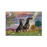 Cloud Angel & Dobie Pair Rectangle Magnet (10 pack