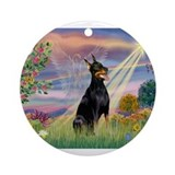 Cloud Angel & Dobie Ornament (Round)