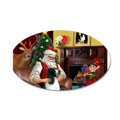 Santa's English Springer 20x12 Oval Wall Decal