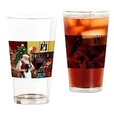 Santa's English Springer Drinking Glass