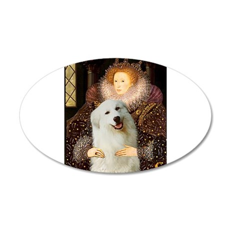 The Queen's Great Pyrenees 38.5 x 24.5 Oval Wall P