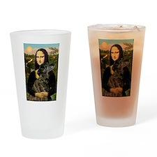 Mona's brindle Greyhound Drinking Glass