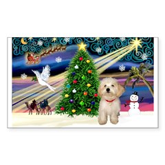 XmasMagic/Havanese pup Sticker (Rectangle 10 pk)