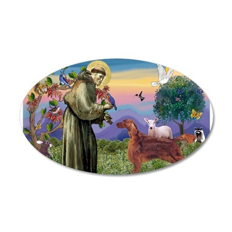 St. Francis & Irish Setter 22x14 Oval Wall Pee