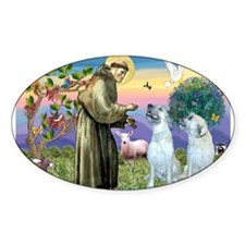 St Francis / 2 Irish Wolfhounds Decal