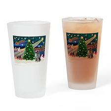 Xmas Magic & Keeshond Drinking Glass