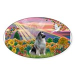 Autumn Angel/Keeshond Sticker (Oval 50 pk)