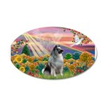 Autumn Angel/Keeshond 22x14 Oval Wall Peel