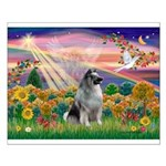 Autumn Angel/Keeshond Small Poster