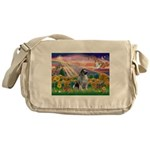 Autumn Angel/Keeshond Messenger Bag